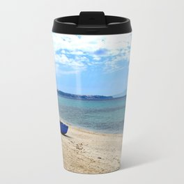 Blue boat in Greece Travel Mug