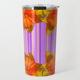 Orange-Yellow Daffodils Lilac Vision Travel Mug