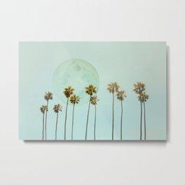 Full Moon Paradiese Beach Palm Trees Metal Print