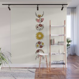 Floral Phases of the Moon Wall Mural