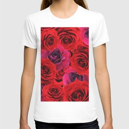 Deep Red and Purple Roses T-shirt