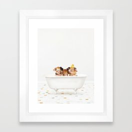 3 Little Pigs with Rubber Ducky in Vintage Bathtub Framed Art Print