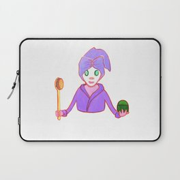 Funny beauty queen in mask with cucumber brush and cream like sceptre and globe in violet  gown Laptop Sleeve