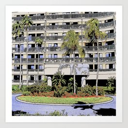 High-rise condo with palms and landscaping Art Print