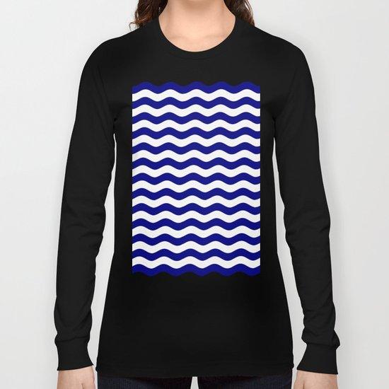 Wavy Stripes (Navy Blue/White) Long Sleeve T-shirt