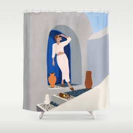 Summer in Santorini Shower Curtain