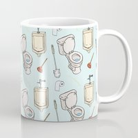bathroom Mugs featuring Bathroom Pattern by Josh LaFayette
