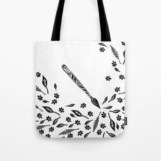 Graphic Paintbrush Flowers & Leaves Tote Bag
