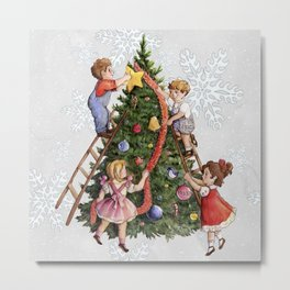 Old Fadshioned Children Decorating a Christmas Tree Metal Print