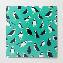 Puffins on Turquoise Metal Print