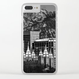 Salt Lake City Downtown Winter Skyline - Black And White Clear iPhone Case