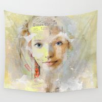 brad pitt Wall Tapestries featuring The nice girl by Ganech joe