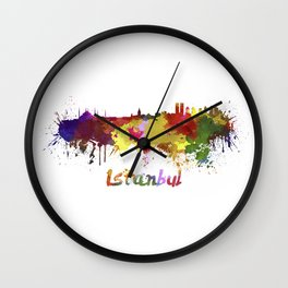 Istanbul skyline in watercolor Wall Clock