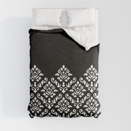 Damask Baroque Part Pattern White on Black Comforters
