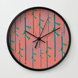 Mid Century Illumination - Teal Coral and Orange Palette Wall Clock