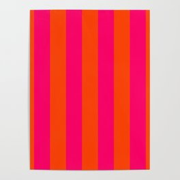 Bright Neon Pink and Orange Vertical Cabana Tent Stripes Poster