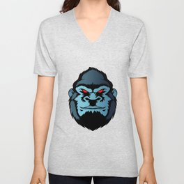 blue gorilla head Unisex V-Neck