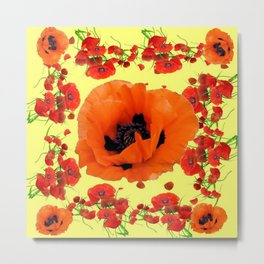 MODERN ART POPPIES GARDEN GREY DESIGN Metal Print