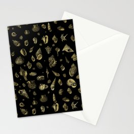 Sea shells pattern gold on black 2 Stationery Cards
