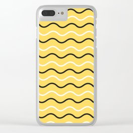 Modern abstract yellow waves Clear iPhone Case