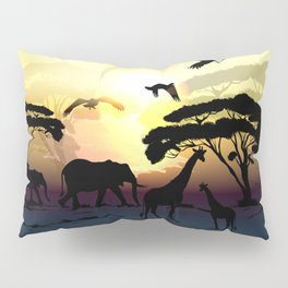Savanna landscape with animals. African illustration Pillow Sham