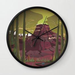 Erupting Volcano in the Swamp Cartoon Wall Clock