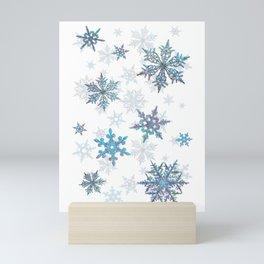 """""""Embroidered"""" Snowflakes on white canvas Mini Art Print"""