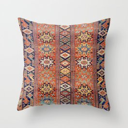 Southwestern Farmhouse I // 19th Century Colorful Red Yellow Blue Green Aztec Farm Stars Pattern Throw Pillow