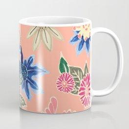 Peacock Floral in Coral Coffee Mug