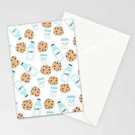 Milk and cookies pattern white cute kids decor boys or girls room design Stationery Cards