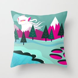 Monster Cat in the Mountains Throw Pillow