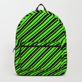 Bright Green and Black Diagonal RTL Var Size Stripes Backpack