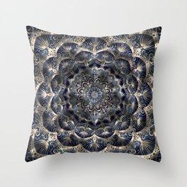 Silverstar Mandalaflower on navy blue jeans Throw Pillow