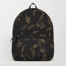 Abstract Gold and Black Musical Fall Leaves Backpack