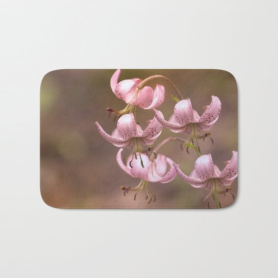 Pink Nostalgic Flowers Bath Mat