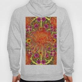 Colorful Decorative Orange Spider Mums Purple Floral Hoody