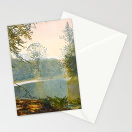 John Atkinson Grimshaw - The Quiet of the Lake, Roundhay Park - Victorian Retro Vintage Painting Stationery Cards