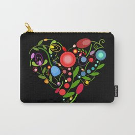 Floral heart on black Carry-All Pouch