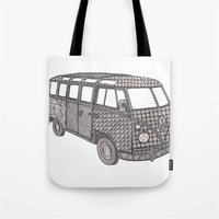 volkswagon Tote Bags featuring Tangled VW Bus - side view by Cherry Creative Designs
