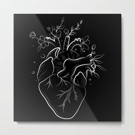 Human heart with flowers black Metal Print