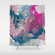 8: a bright abstract in blues pinks and golds Shower Curtain