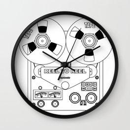 Reel To Reel Line Drawing Wall Clock