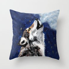 Wolf's breath Throw Pillow