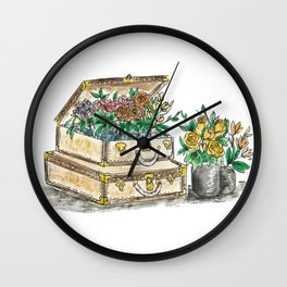 Flower Suit Cases Wall Clock