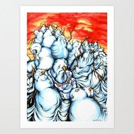 Snowman Apocalypse Art Print