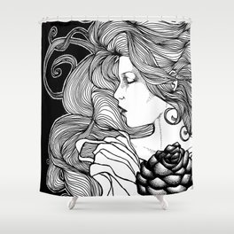 ROSE B&W Shower Curtain