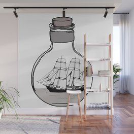 Ship in the Glass Bulb for Home Decor and Apparel Wall Mural