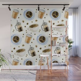 Coffee watercolor pattern with grains coffee Wall Mural