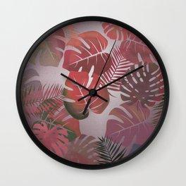Tropical Autumn Leaves Wall Clock