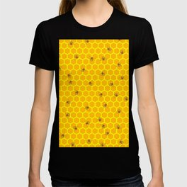Mind Your Own Beeswax / Bright honeycomb and bee pattern T-shirt